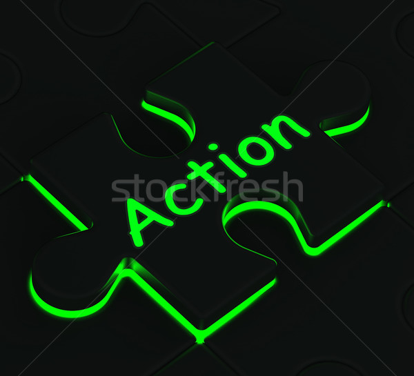 Action Puzzle Shows Acting And Expressions Stock photo © stuartmiles
