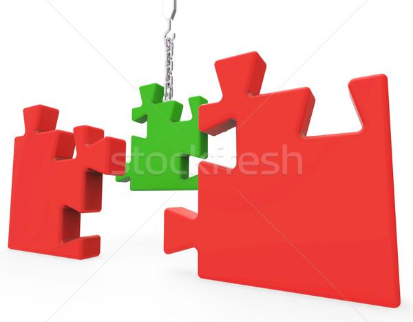Unfinished Puzzle Shows Team Work Stock photo © stuartmiles