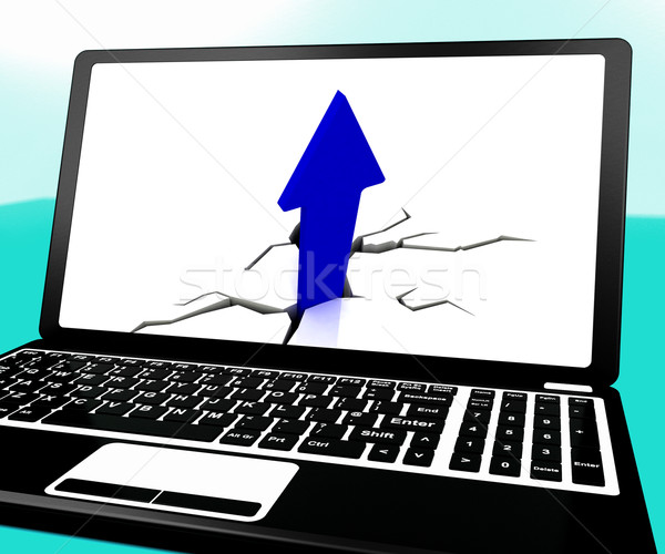 Arrow Going Up On Laptop Shows Important Incomes Stock photo © stuartmiles