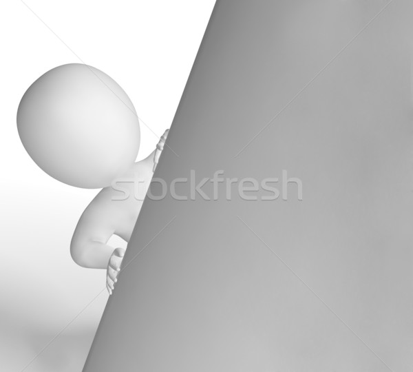 Сток-фото: копия · пространства · 3D · характер · глядя · знак