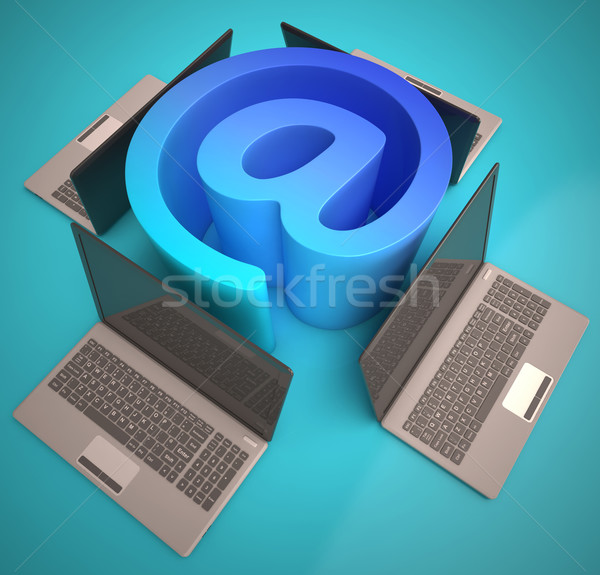 At Sign Laptops Shows Email on Web Stock photo © stuartmiles