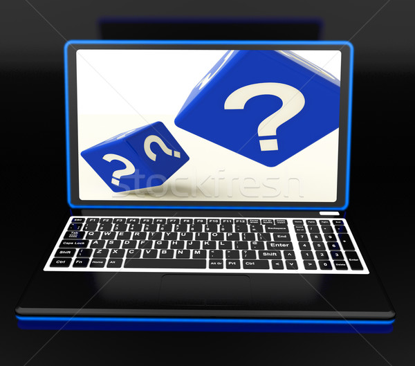 Stock photo: Question Mark On Laptop Showing Confusion