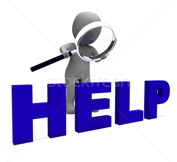 Stock photo: Help Character Shows Helpline Helpdesk Assist Or Support