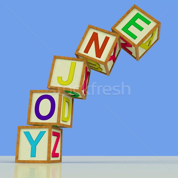 Enjoy Blocks Mean Recreation Play Or Fun Stock photo © stuartmiles