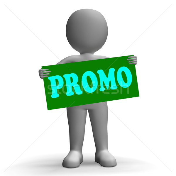 Promo Sign Character Shows Special Promotions And Discounts Stock photo © stuartmiles