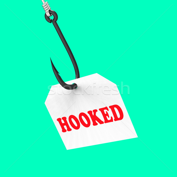 Hooked On Hook Means Fishing Equipment Or Catch Stock photo © stuartmiles