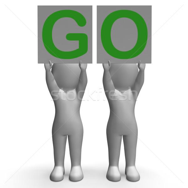GO Banners Show Car Race Start Or Motivation Stock photo © stuartmiles