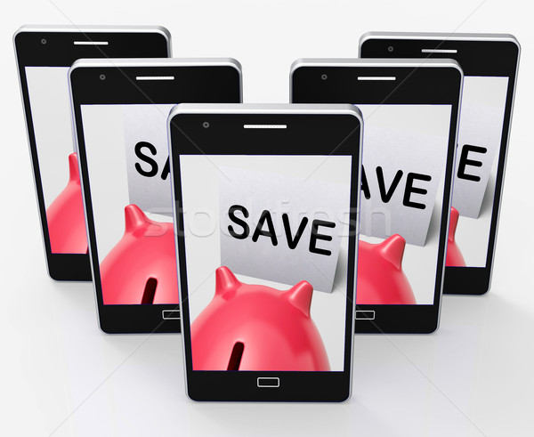 Save Piggy Bank Phone Shows Product Discounts And Bargains Stock photo © stuartmiles