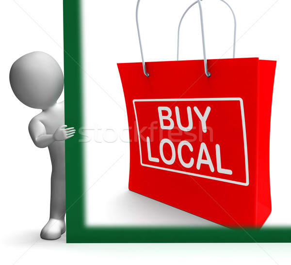 Buy Local Shopping Bag Shows Buy Nearby Trade Stock photo © stuartmiles