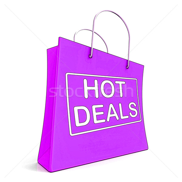 Stock photo: Hot Deals On Shopping Bags Shows Bargains Sale And Saving