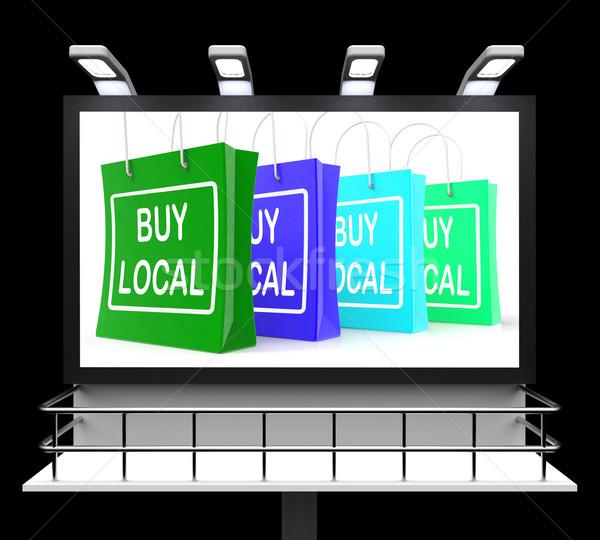 Vásárol helyi vásárlás felirat vásárol kereskedelem Stock fotó © stuartmiles