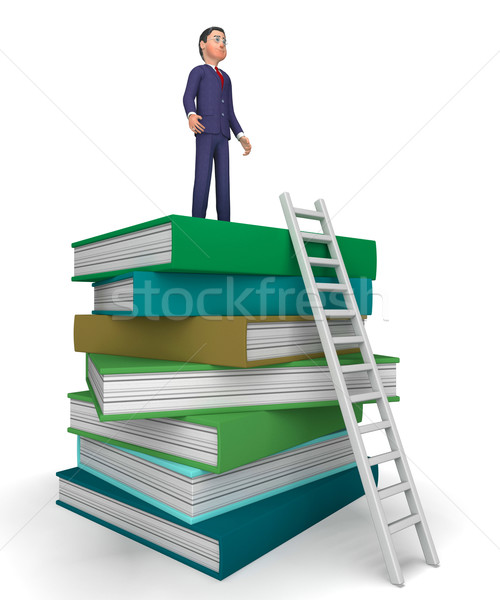 Businessman With Books Indicates Studying Answer And Ladders Stock photo © stuartmiles