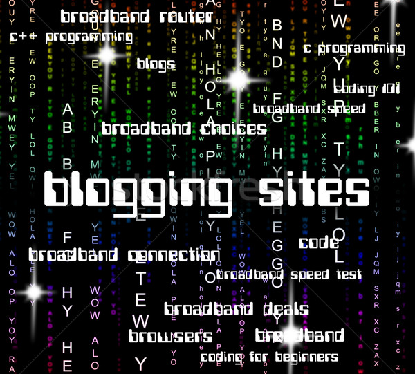 Blogging ligne mot texte internet web Photo stock © stuartmiles