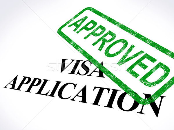Visa Application Approved Stamp Shows Entry Admission Authorized Stock photo © stuartmiles