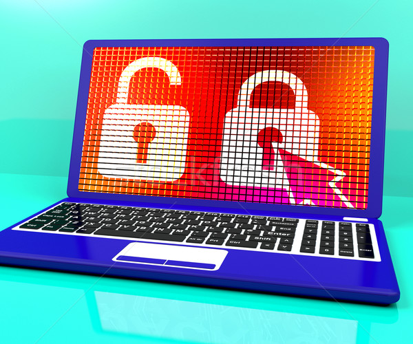 заблокированный замок ноутбука доступ защиту Сток-фото © stuartmiles