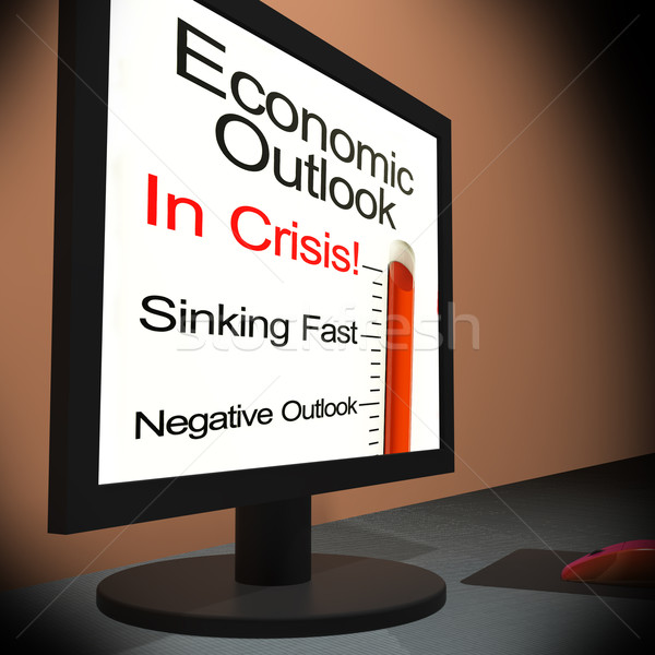 Economic Outlook On Monitor Showing Financial Forecasting Stock photo © stuartmiles