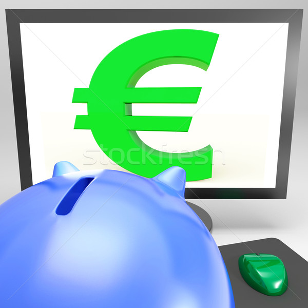 Euro Symbol On Monitor Shows European Fortune Stock photo © stuartmiles