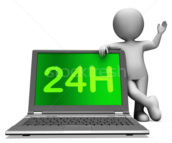 24h Laptop And Character Shows All Day Service On Web Stock photo © stuartmiles