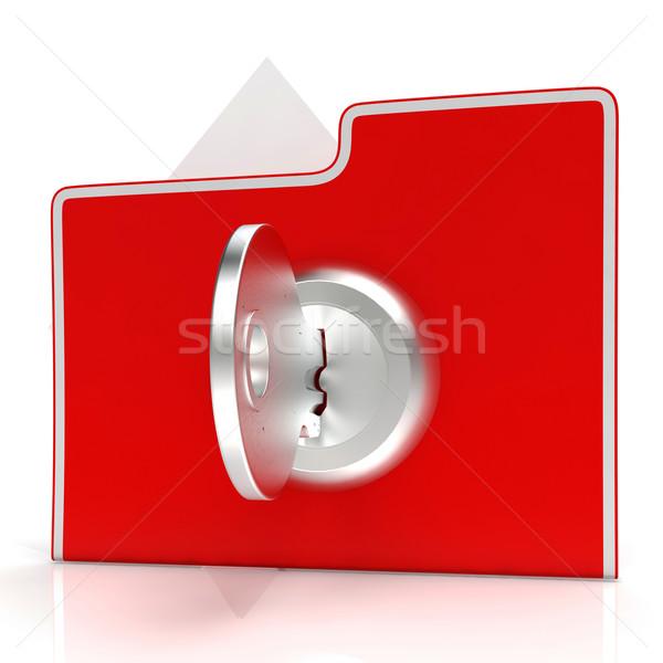 Akta kulcs biztosíték bizalmas mutat zár Stock fotó © stuartmiles