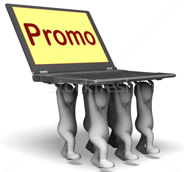 Promo Characters Laptop Shows Promotion Clearance And Reductions Stock photo © stuartmiles