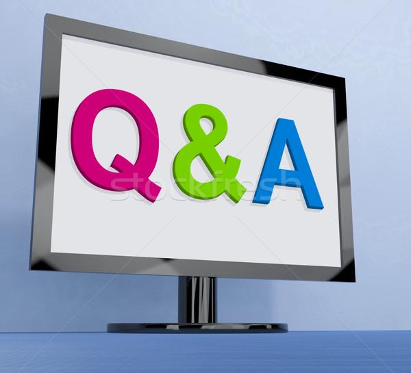 Monitor kérdések válaszok online mutat háló Stock fotó © stuartmiles