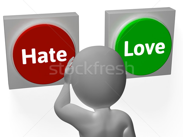 Hate Love Buttons Show Attitude Or Hatred Stock photo © stuartmiles