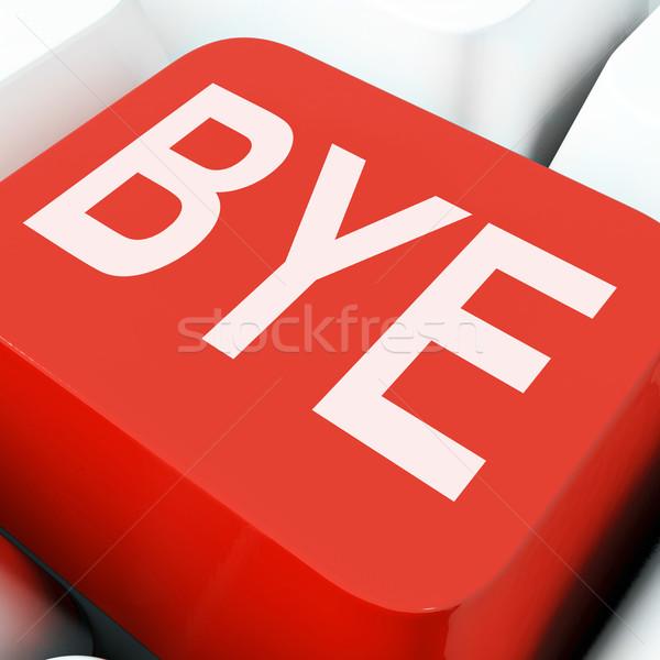 Doei sleutel afscheid toetsenbord betekenis vertrek Stockfoto © stuartmiles