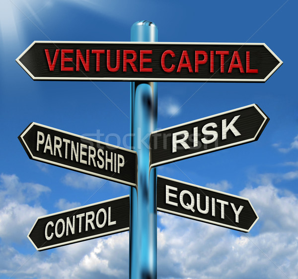 Venture Capital Signpost Shows Partnership Risk Control And Equi Stock photo © stuartmiles