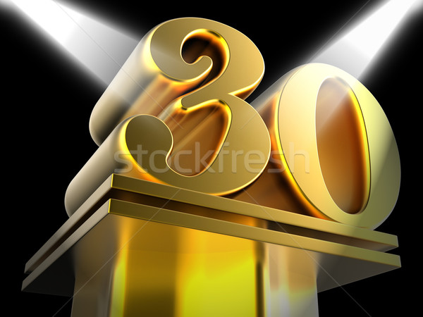 Golden Thirty On Pedestal Means Thirtieth Victory Or Entertainme Stock photo © stuartmiles