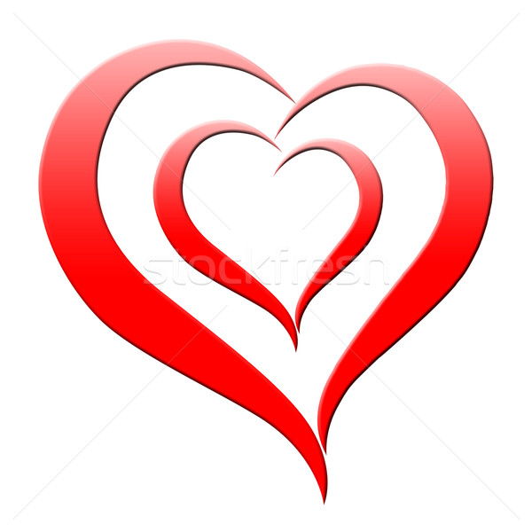 Red Heart Means Romanticism Passion And Amour Stock photo © stuartmiles