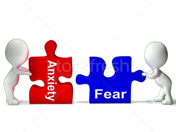 Anxiety Fear Puzzle Means Anxious Or Afraid Stock photo © stuartmiles
