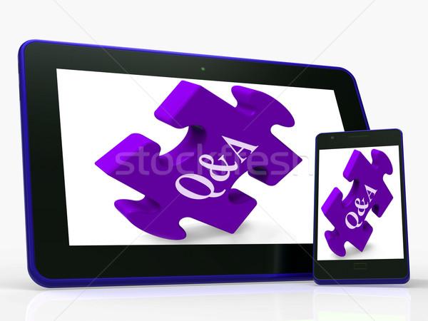 Puzzle mobiltelefon kérdések válaszok mutat számítógép Stock fotó © stuartmiles