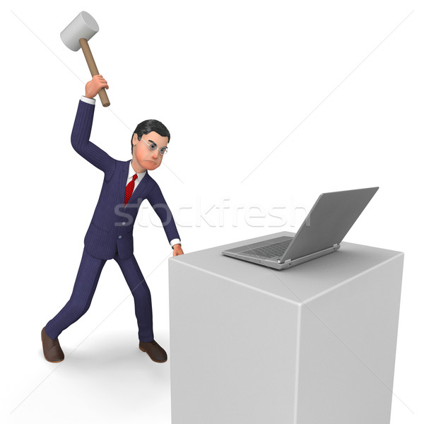 Businessman Angry Represents Executive Mad And Technology Stock photo © stuartmiles