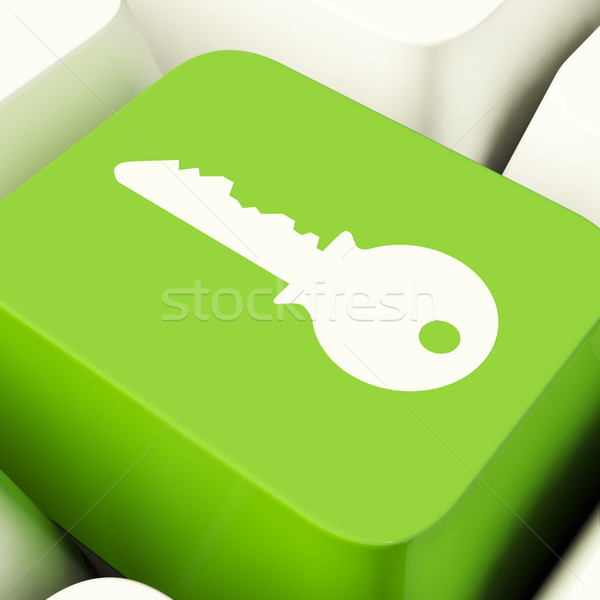 Key Computer Button In Green Showing Security And Protection Stock photo © stuartmiles