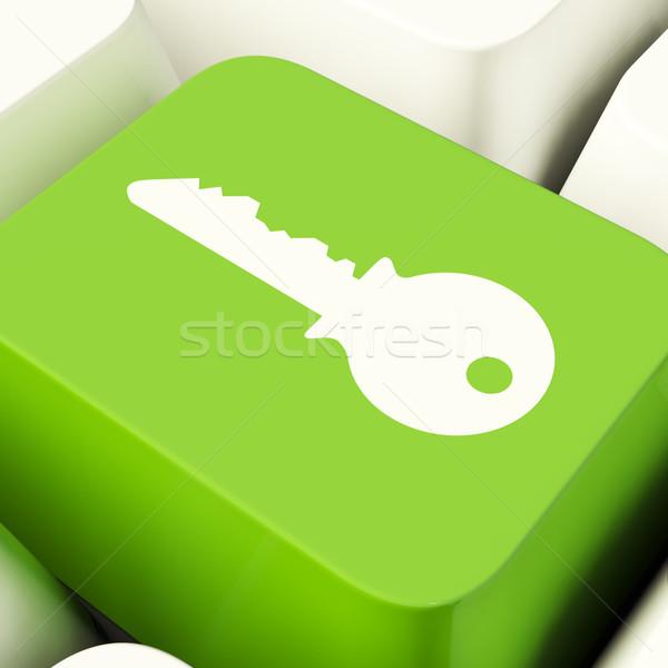 Foto stock: Clave · ordenador · botón · verde · seguridad