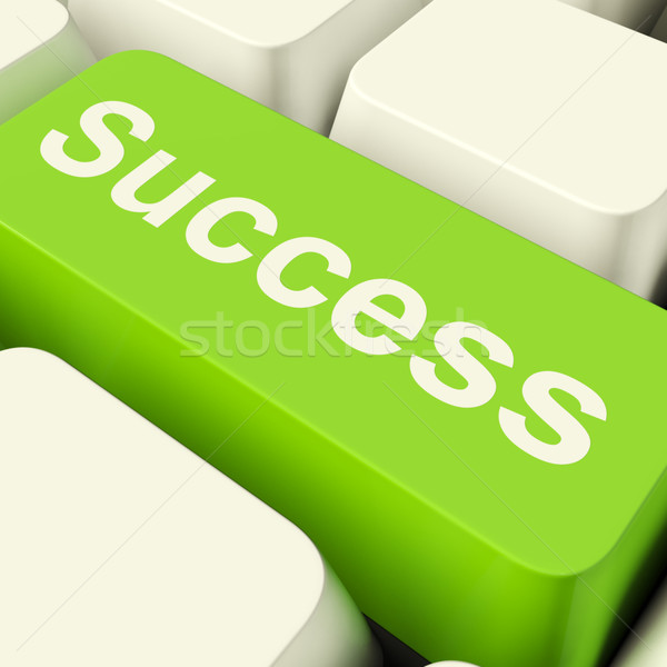 Sukces komputera kluczowych zielone osiągnięcie Zdjęcia stock © stuartmiles