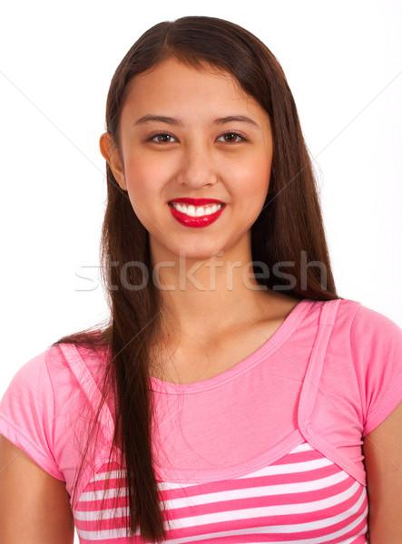 Сток-фото: счастливая · девушка · розовый · счастливым · подростку