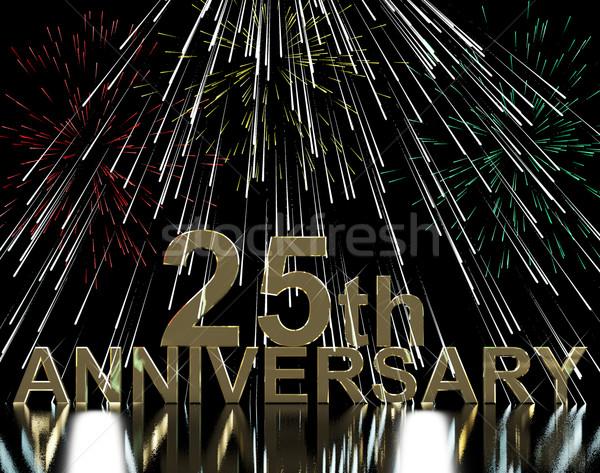 Ouro aniversário fogos de artifício vinte celebração festa Foto stock © stuartmiles