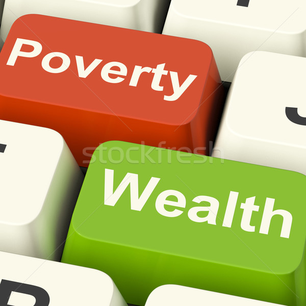 Poverty And Wealth Computer Keys Showing Rich Versus Poor Stock photo © stuartmiles