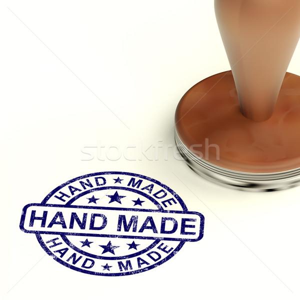 Hand Made Stamp Showing Original Handmade Artwork Stock photo © stuartmiles