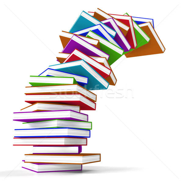 Stock photo: Stack Of Colorful Falling Books Representing Learning And Educat