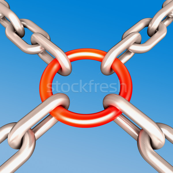 Stock photo: Red Chain Link Shows Strength Security