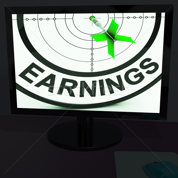 Earnings On Monitor Showing Profitable Incomes Stock photo © stuartmiles