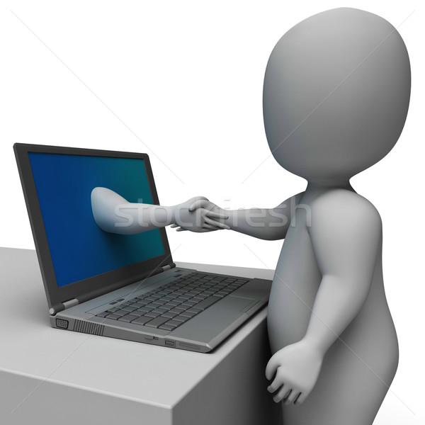 Stock photo: Shaking Hands Through Computer Showing Online Deal