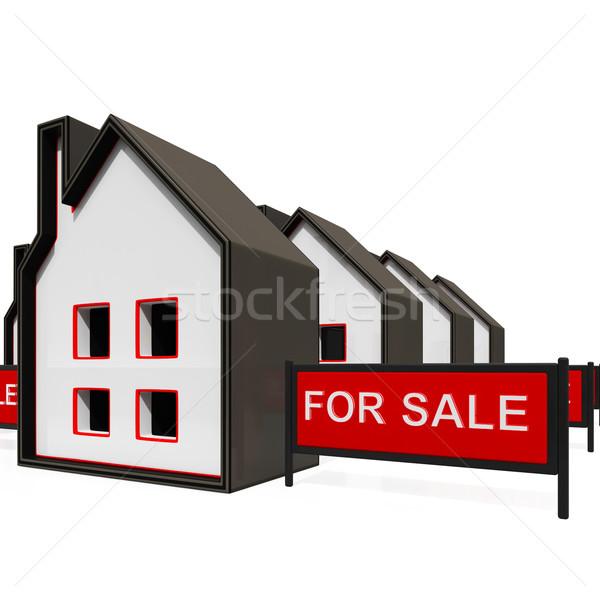 Satış imzalamak ev özellik Bina Stok fotoğraf © stuartmiles