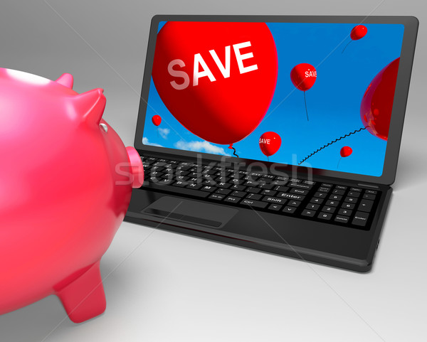 Save Laptop Shows Promos And Discounts On Internet Stock photo © stuartmiles