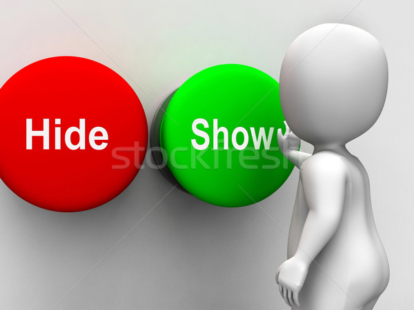 Hide Show Buttons Means Seek Find Look Discover Stock photo © stuartmiles