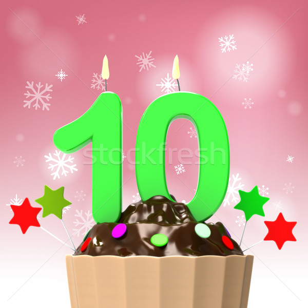 Stock photo: Ten Candle On Cupcake Shows Colourful Event Or Birthday Party