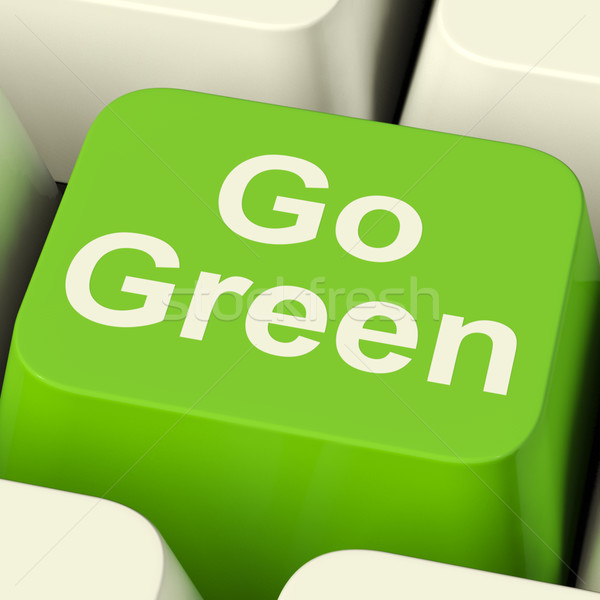 Go Green Computer Key Showing Recycling And Eco Friendly Stock photo © stuartmiles