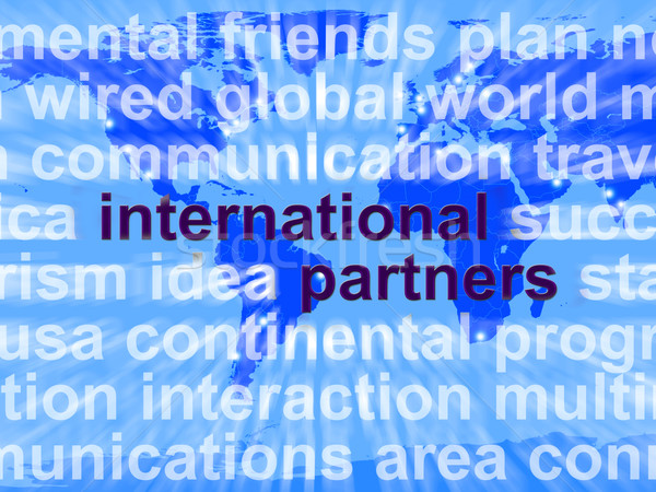 Internationale partners woorden kaart tonen globalisering Stockfoto © stuartmiles